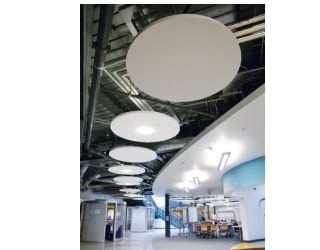 Ecophon plafond eiland Solo Circle - Systeemplafonds.nl
