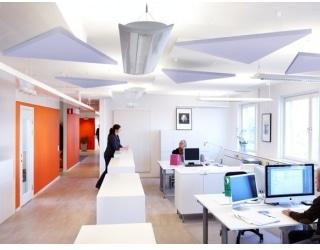 Ecophon plafond eiland Triangle - Systeemplafonds.nl