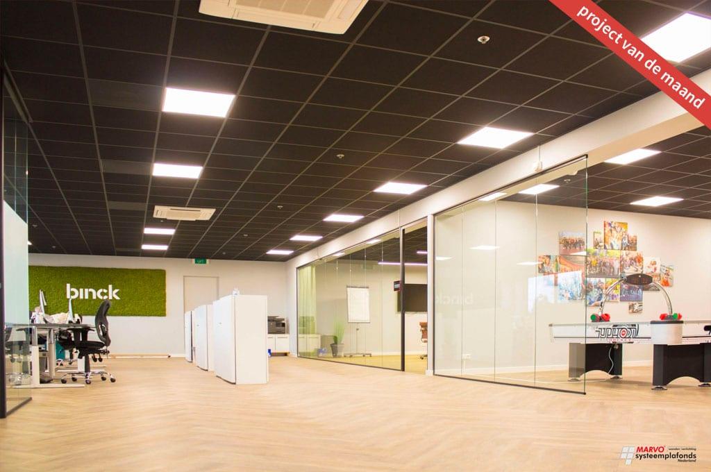 Systeemplafond, glazen wanden, verlichting